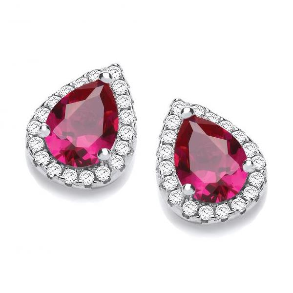 Sterling Silver Ruby Red & Micro Pave Cz Teardrop Stud Earrings Hallmarked