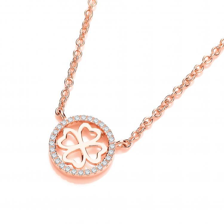 Rose Gold on Sterling Silver Four Leaf Halo Cz Clover 17