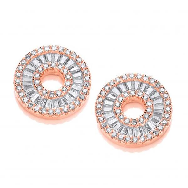 Rose Gold on Silver Circle of Life in Baguettes and Round Cz Sud Earrings