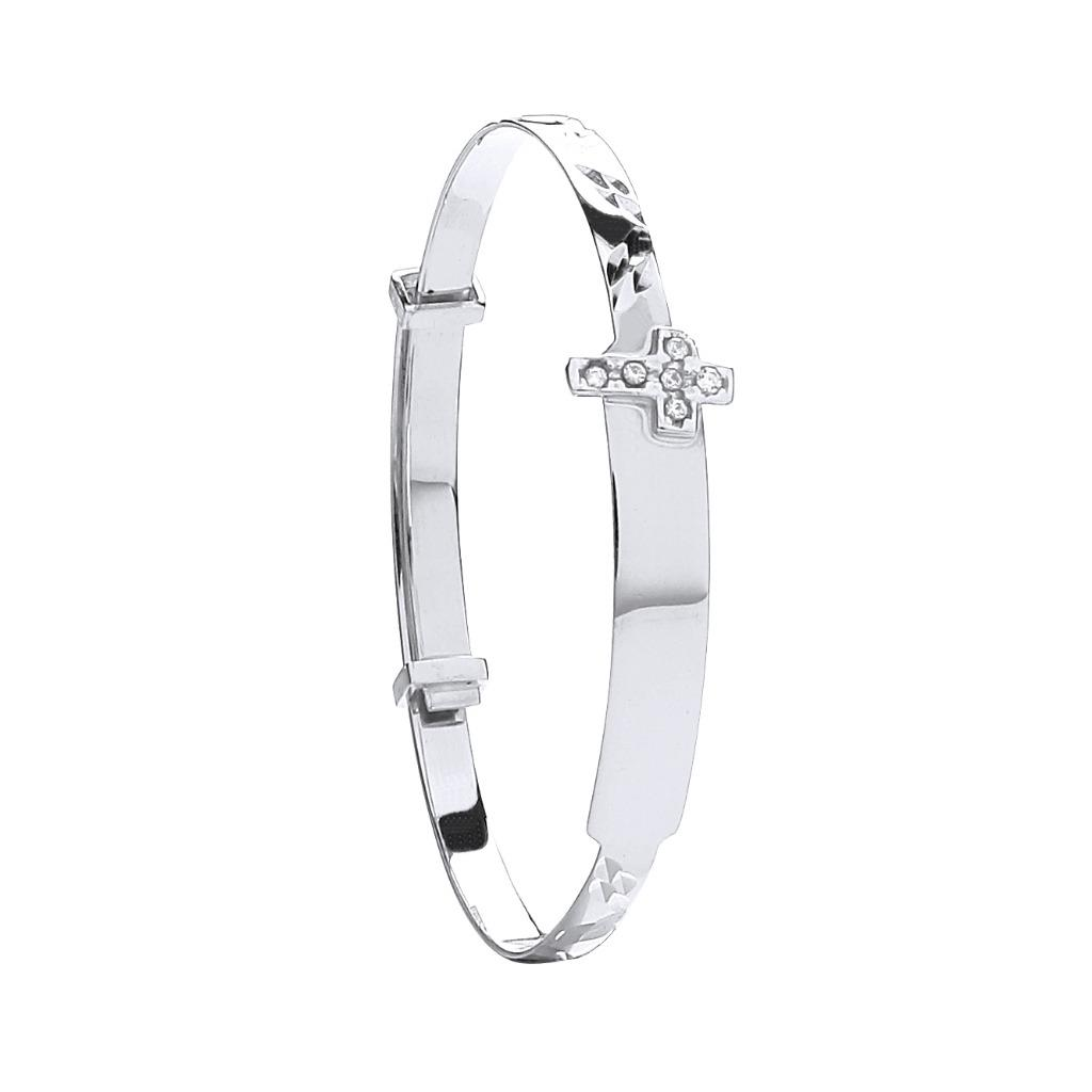 9ct White Gold Expandable Baby Cz Cross Bangle 3.0g