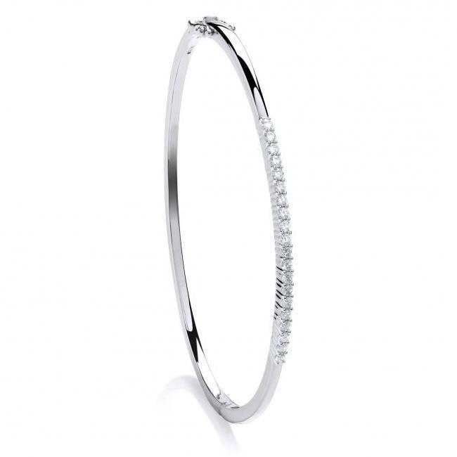 Ladies 9ct White Gold 0.50ct Diamond Claw Set Bangle