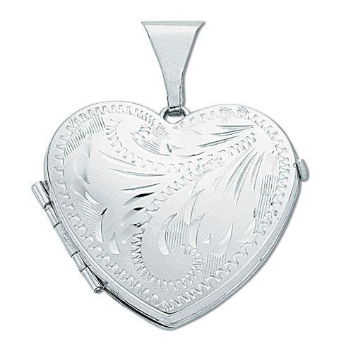 Sterling Silver Heart Shaped 4 Photo Family Locket 25x20mm