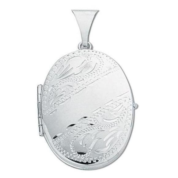 Sterling Silver Oval Shaped 4 Photo Family Locket 25x20mm