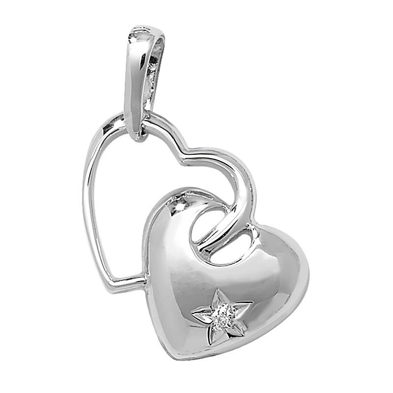9ct White Gold & 0.03ct Star Set Diamond Twin Hearts Pendant