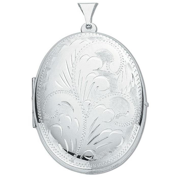 Large Sterling Silver Oval Shaped 2 Photo Locket 40x30mm