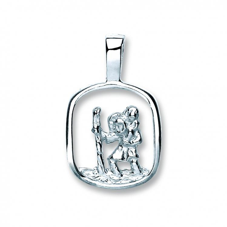 Sterling Silver Cut Out St Christopher Pendant 1.3g 12x10mm