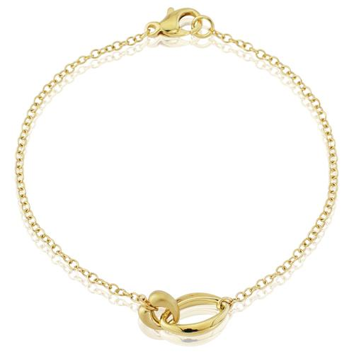 9ct Yellow Gold Two Entwined Satin & Polished Links Bracelet  2.7g