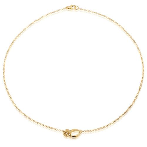 9ct Yellow Gold 2 Entwined Satin & Polished Links 17