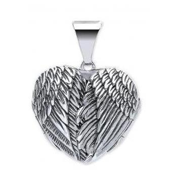 Silver Heart Shaped Guardian Angel Wings Single Photo Locket 20x18mm