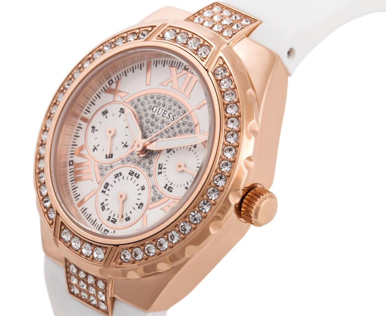 Ladies Guess Watch W0300L2 Rose gold White Silicone Strap ...
