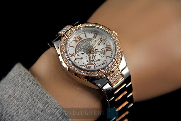 Guess W0111L4 Chronograph Rose Gold & Silver Prism Ladies ...