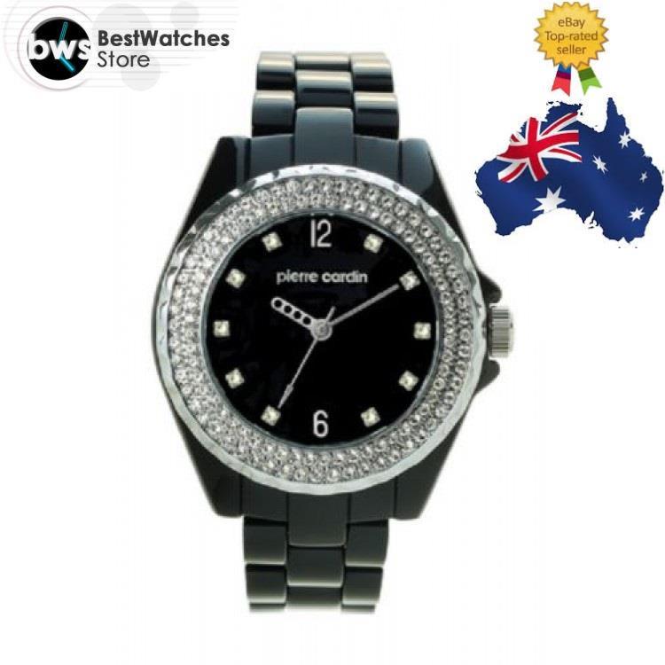 Pierre cardin 4678n swarovski crystal black resin strap ladies watch warranty ebay for Black resin ladies watch