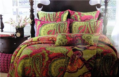 Cynthia Rowley TWIN Tropical Paisley QUILT forter bedding