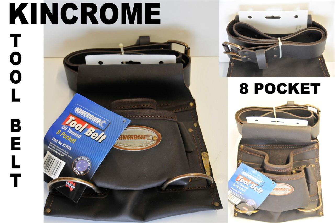 KINCROME-BUILDERS-Leather-WORK-BELT-8-Pocket-Carpenters-Tool-Belt-DIY-RRP-129-95
