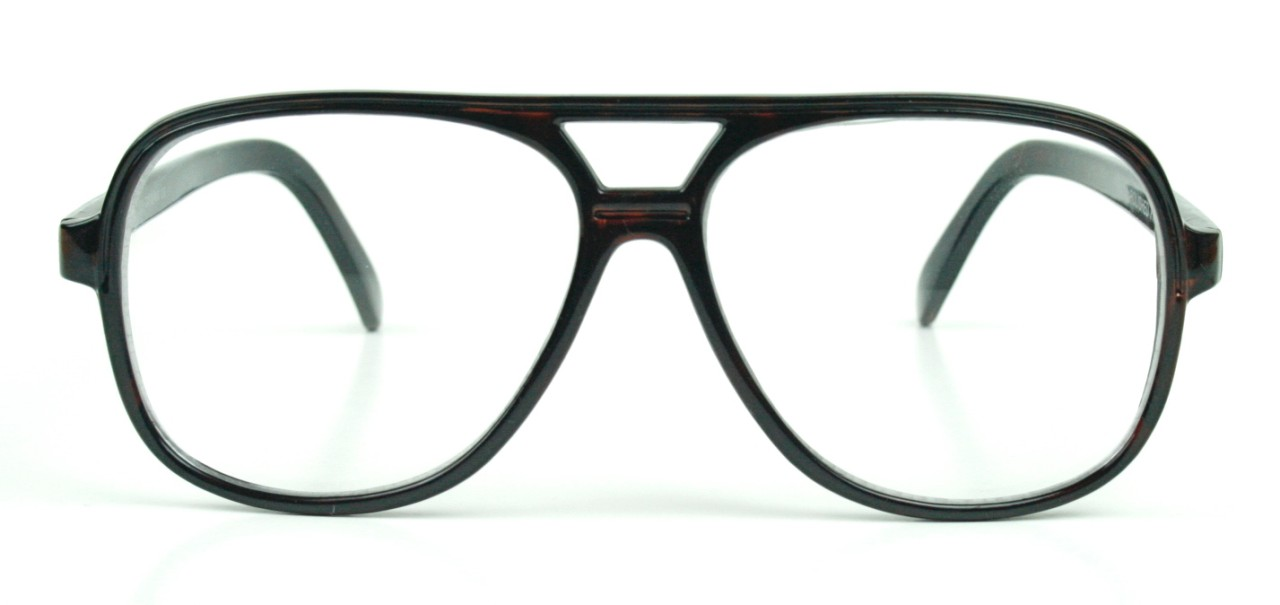 50s Aviator Style Brown Plastic Frame Clear Lens ...
