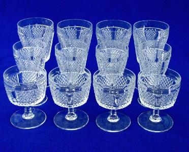 Pieces of Fostoria Glass Panelled Diamond Point (Water Wine Sherbet