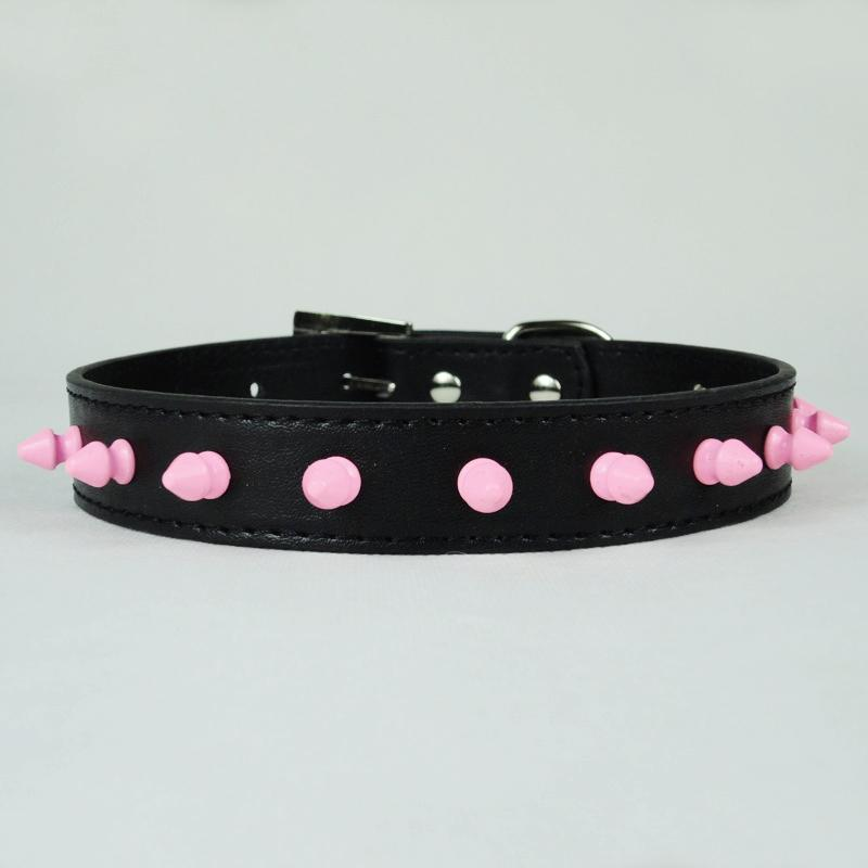 """Pink Spiked Studded PU Leather Puppy Dog Collar For Neck Size 8""""-18"""" New C55"""