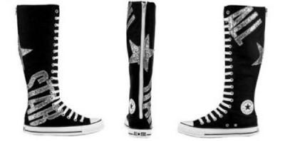 Converse Black All Star Silver Glitter Xxhi Knee High Tennis Shoes New
