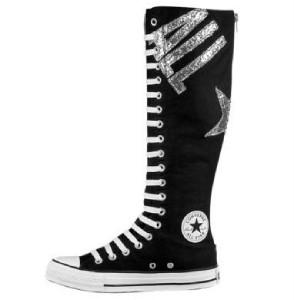 converse black all silver glitter xxhi knee high