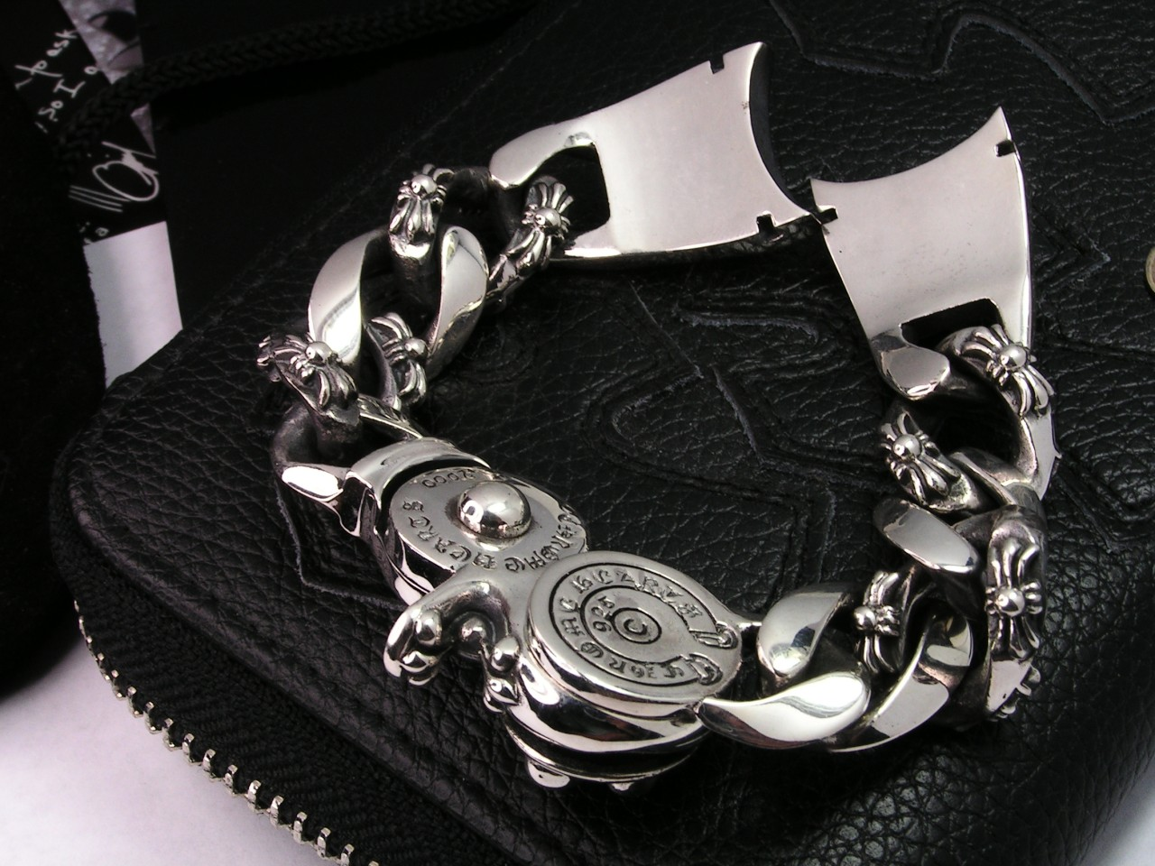 GENUINE CHROME HEARTS STERLING SILVER WATCH BAND BRACELET