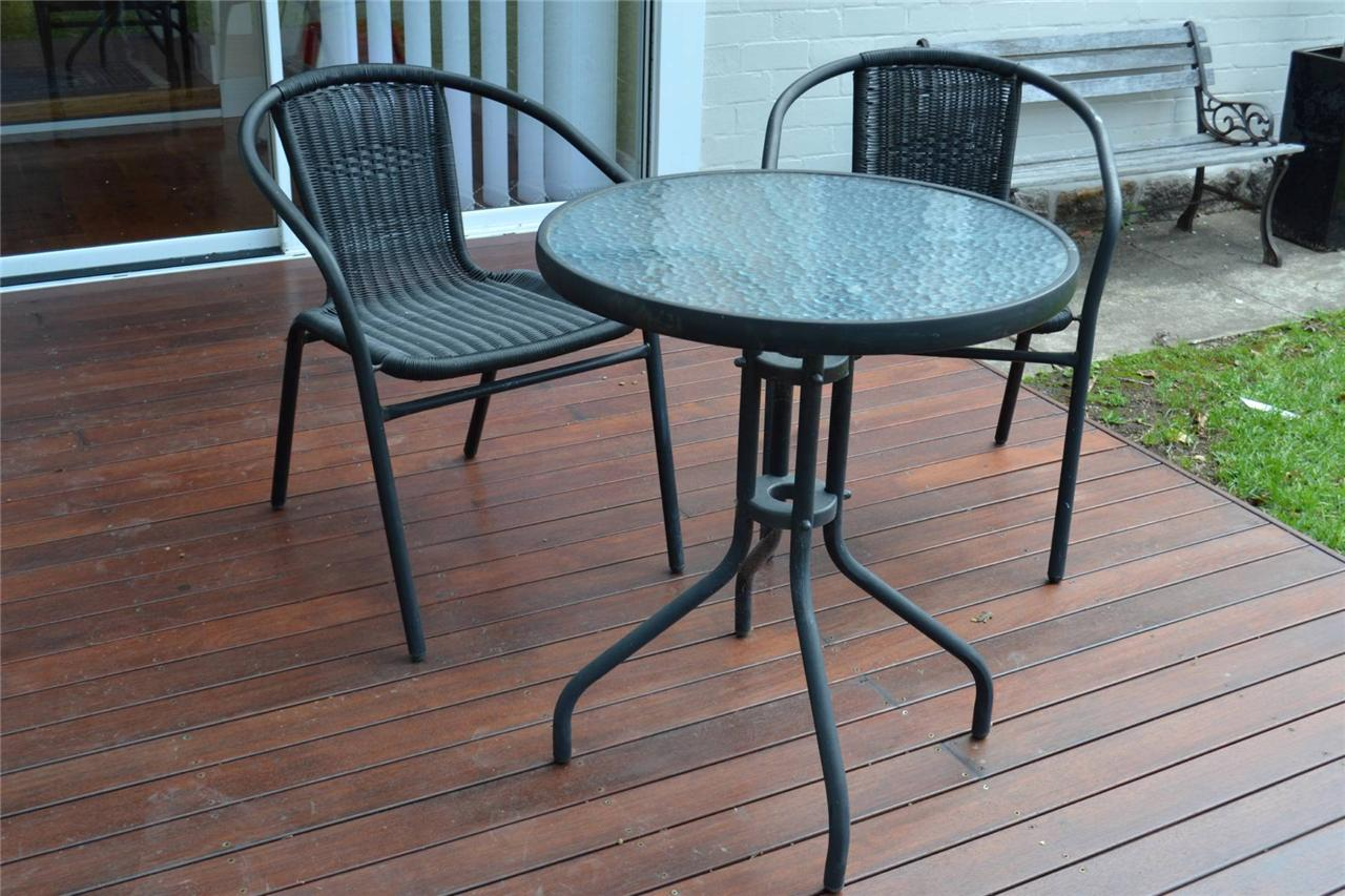 Ikea cafe set outdoor round dining table and 2 chairs ebay for Outdoor patio table and chairs