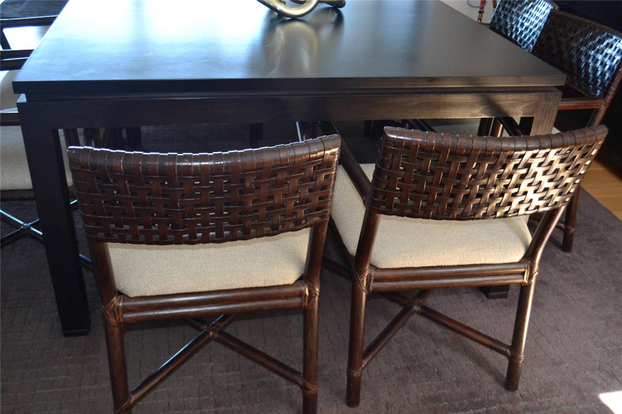 Stunning McGuire Furniture Square Dining Table and Leather Rawhide ...