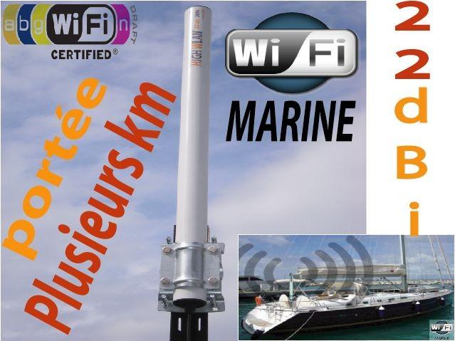 Antenne wifi marine longue port e omni 22 dbi - Antenne wifi longue portee omnidirectionnelle ...