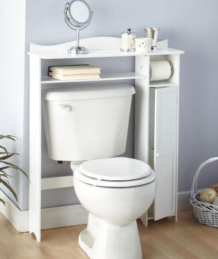 Bathroom wooden over the toilet table shelf storage white for Over the toilet cabinet