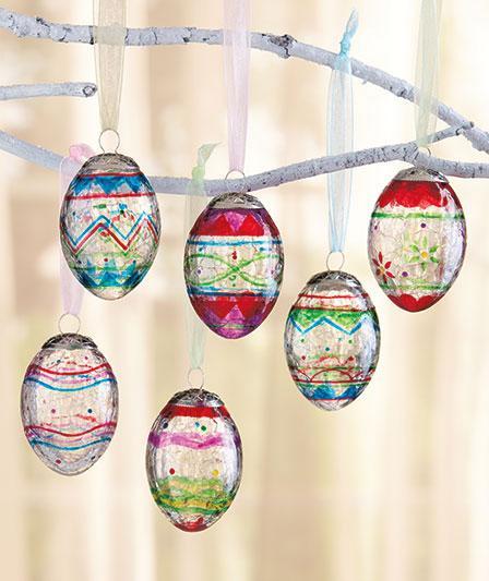 Set of six beautiful crackled glass egg ornaments for