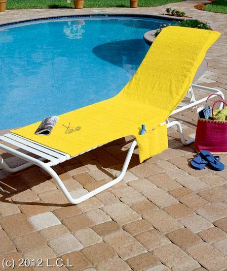 BRIGHTLY COLORED BEACH POOL DECK LOUNGE CHAIR COVER WITH POCKET CONVERTS TO T