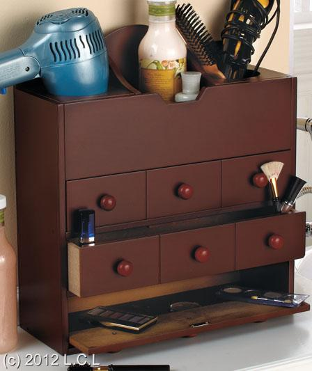 WOODEN-COUNTERTOP-OR-WALL-MOUNT-HAIR-CARE-COSMETIC-ORGANIZER-STORAGE ...