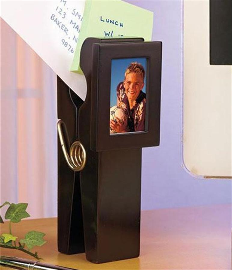 Jumbo Clothespin Photo Picture Frame Desk Note Holder