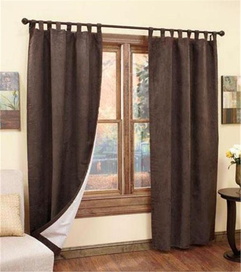 INSULATED THERMAL BACKED SUEDED TAB TOP WINDOW TREATMENT CURTAIN SET 4 ...
