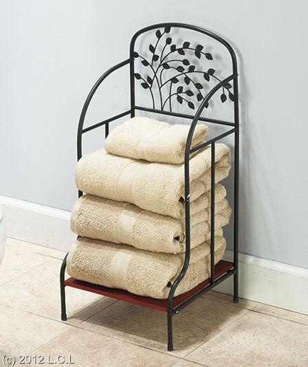Metal tree accented bathroom furniture towel stacker for Bathroom towel storage