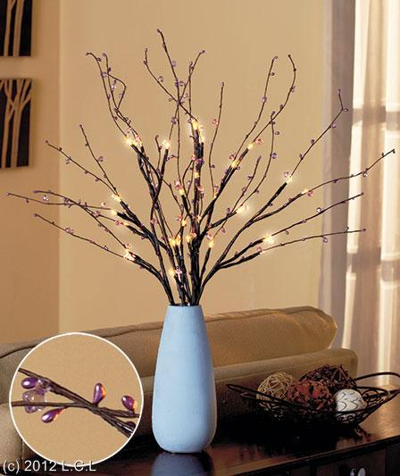 Crystal Beaded Light Up Branches Centerpiece Battery