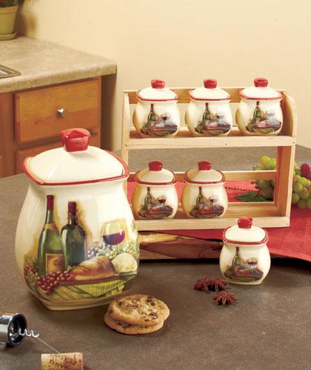 TUSCAN-INSPIRED VINEYARD KITCHEN CANISTER SET, SPICE RACK