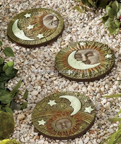 SET OF 3 GLOW-IN-THE-DARK GARDEN WALKWAY PATHWAY STEPPINGSTONES - 2 DESIGNS