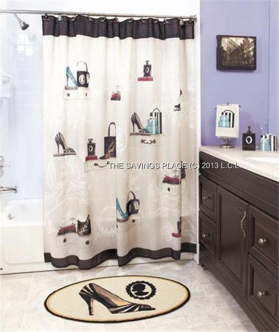 FASHIONISTA SHOE/PURSE THEMED BATH COLLECTION SHOWER CURTAIN ...