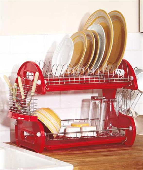 2 tier chrome plated steel deluxe kitchen dish plate cup drying drainer rack. Black Bedroom Furniture Sets. Home Design Ideas