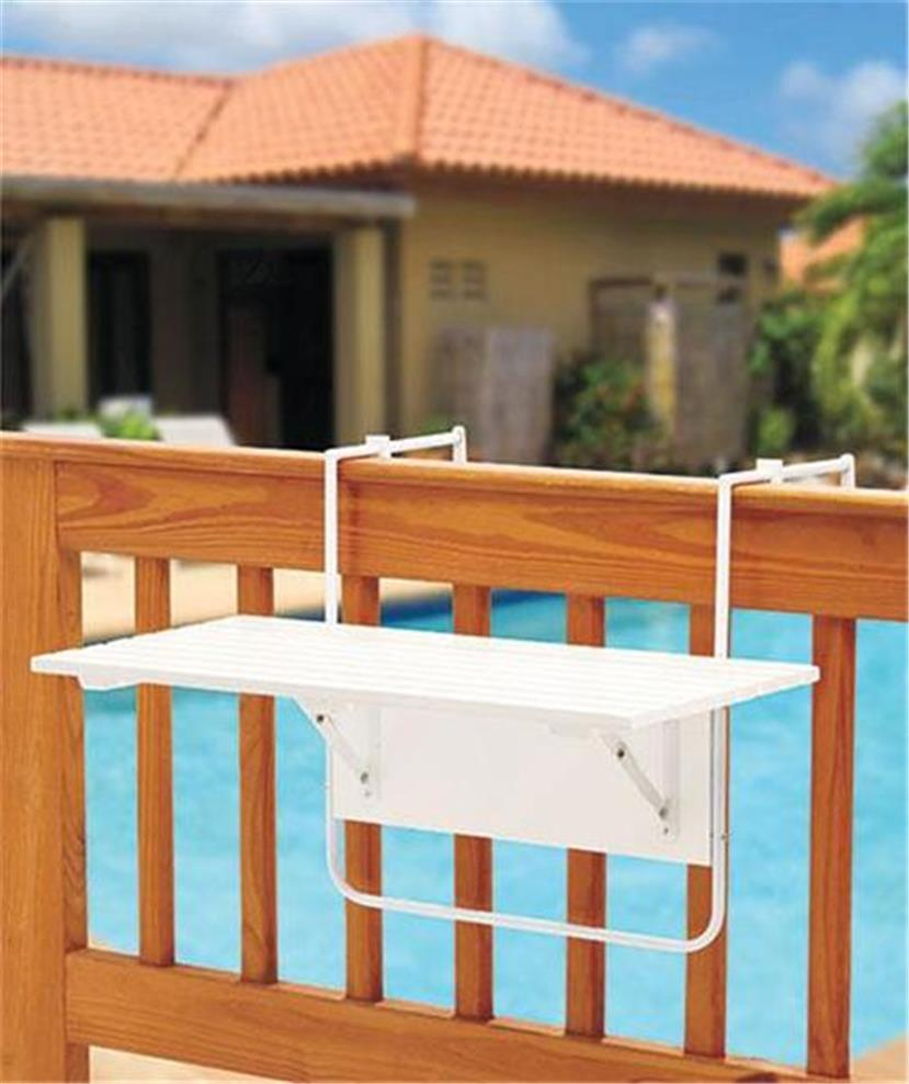 Attractive wooden folding deck table secures to porch deck for Wood balusters for tables