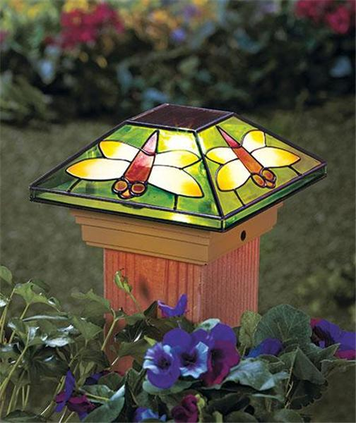 4x4 Lamp Shade : Solar fence post cap deck porch light w stained glass look