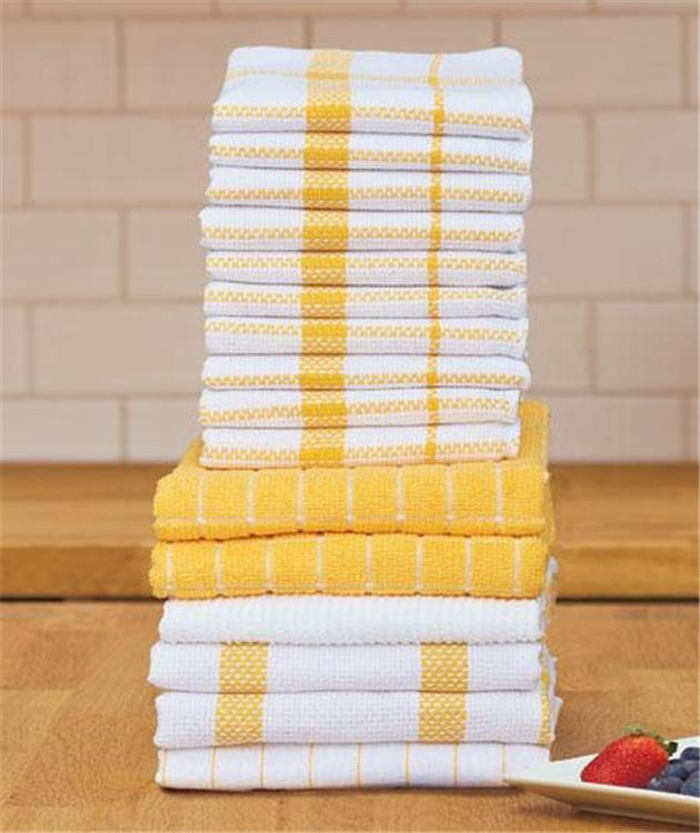 16-PC COTTON KITCHEN HAND DISH DUSTING LINT-FREE TOWEL SET IN 5 STYLISH COLORS