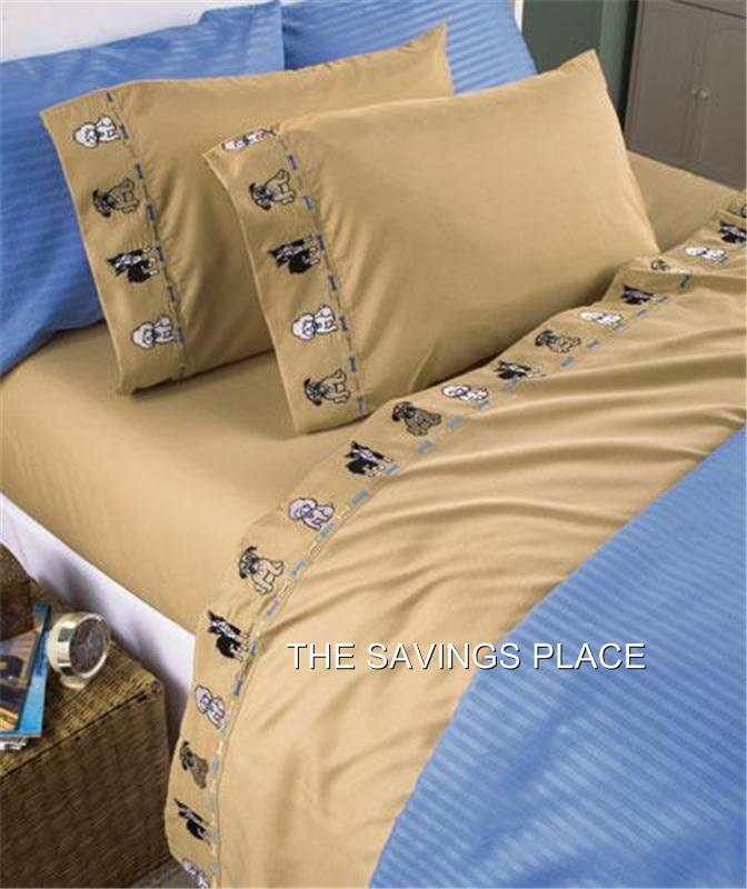Cats or dogs pet lover wrinkle resistant embroidered sheet for Dog resistant bedding