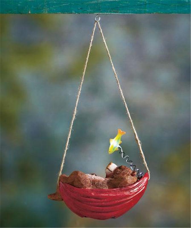 Solar hanging napping garden deck critter dog cat bear or for Garden decking ornaments