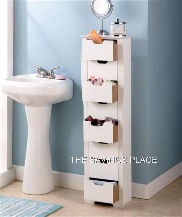 8 drawer wooden bathroom bedroom entryway slim space for Slim bathroom storage