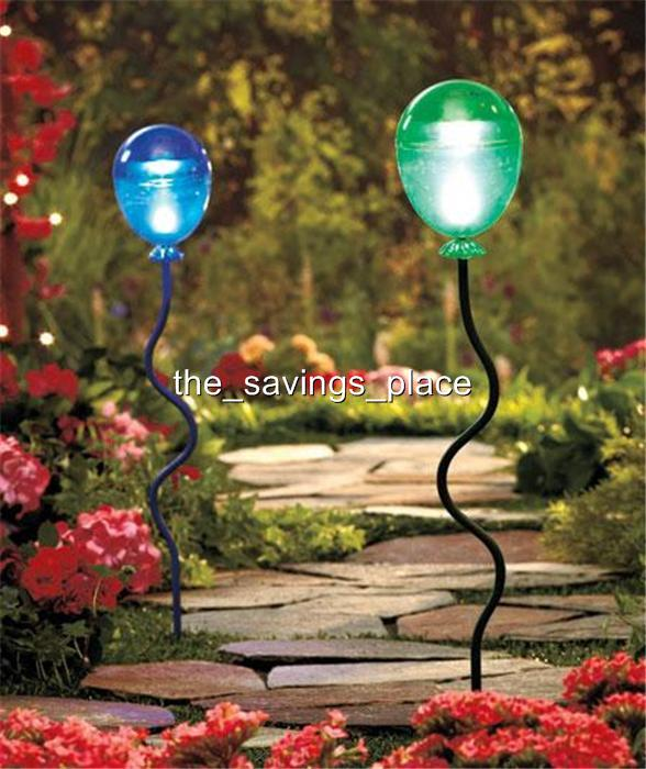 2 Solar Lighted Garden Walkway Balloon Stake Lights Party Lighting Yard Decor