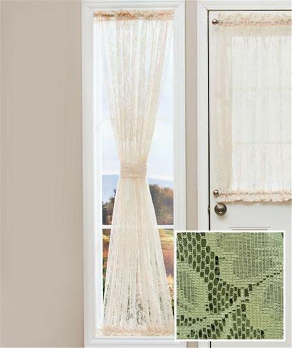 Elegant lace door window sidelight curtain panel w rod pocket top 2 sz