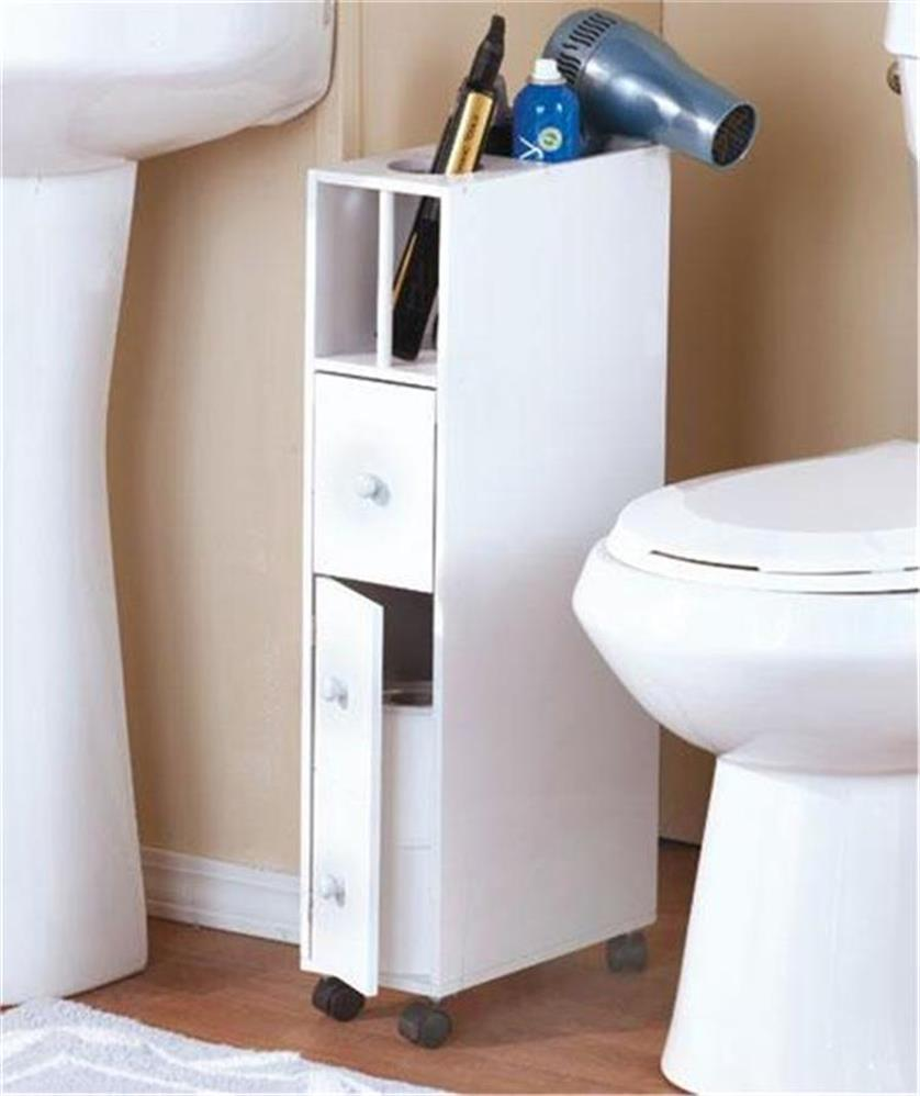 SLIM SPACE-SAVING ROLLING BATHROOM STORAGE ORGANIZER CABINET W/APPLIANCE HOLDER