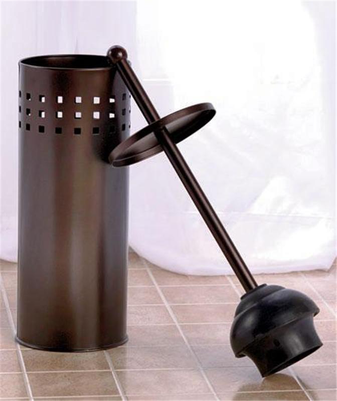 bathroom toilet bowl sink tub plunger in attractive cylinder holder in 2 fin ebay. Black Bedroom Furniture Sets. Home Design Ideas