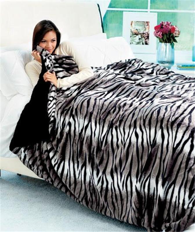 Chic Safari Animal Print Faux Fur Tiger Zebra Bed Blanket ...
